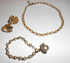 GORGEOUS BAROQUE PARURE SIGNED MIRIAM HASKELL PIECES EARRINGS NECKLACE BRACELET