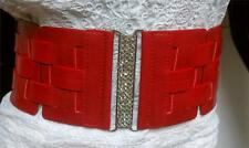 WOMEN RED ELASTIC FAUX LEATHER WIDE CHIC WAIST BELT SIZE S M