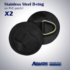 2 x BIG Inflatable Boat Stainless Steel D-RING PVC Patch BLACK