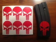 Punisher Skull Sticker 6 pack, M4, AR 15, AK Magazine Sticker!  RED!