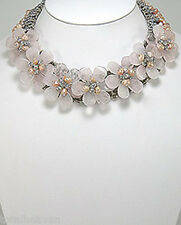 "Couture Rose Quartz Pink Pearl Flower Power Statement Necklace 16""-19"" GORGEOUS"