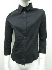 PRADA Made in Italy Black 3/4 Sleeve Stretch Knit Button Front Top Size 42