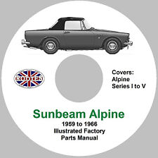 Sunbeam Alpine Factory Parts Manual - Series I through Series V