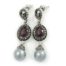 Marcasite Purple/ Grey Crystal Pearl Drop Earrings In Antique Silver Tone - 45mm