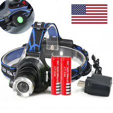 6000LM Zoomable XML T6 LED Focus Headlight Head Lamp Torch + 2x 18650 + Charger