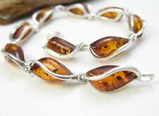 NATURAL BALTIC AMBER STERLING SILVER 925 JEWELLERY BRACELET Certified & GIFT BOX