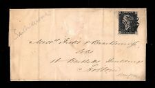 {WCstamps}   G.B. Scott #1 / Penny Black On Cover, April 25 1841, Black Cancel