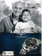 Publicité Advertising 2012 La Montre Longines saint-Imier avec André Agassi