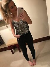 Topshop Silver Sequin Strappy White Cami Top Size 8
