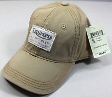 NWT Lucky Brand Triumph Motorcycle Rectangle Patch Khaki Baseball Hat Cap Adjust