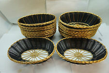 "RESTAURANT BREAD BASKETS VINTAGE WIRE BRASS BLACK WOVEN COMMERCIAL 9""OVAL LOT 16"