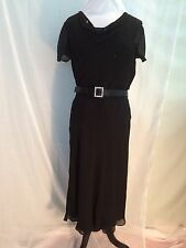 St. John Black evening Dress in Silk Crepe-Size 12