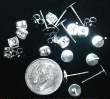8mm Post earring pads with butterfly backs 24 piece lot - silver plated fpe057