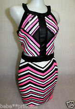 NWT bebe pink white black side cutout sequin colorblock party top dress XS 0 2