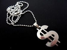 "A STAINLESS STEEL  DOLLAR SIGN NECKLACE. GOTH. 18"" LONG. NEW."