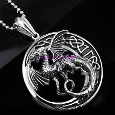 New Circular Silver Stainless Steel Men's Flying dragon Jewelry Pendant Necklace