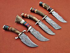 UNION KNIVES BEAUTIFUL CUSTOM MADE DAMASCUS STEEL HUNTING KNIFE SET (STAG)..