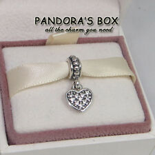 1 Authentic Pandora Charm Clear Pave Heart Dangle 791023CZ sterling silver Bead