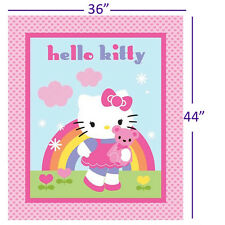 "165000052 - Hello Kitty 36"" Panel Fabric by the Yard Rainbow Pink Hearts Teddy"