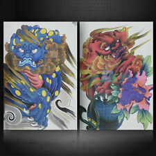 A4 76 Pages China Traditional Lion Tattoo Book Sketch Manuscript Design Supplies