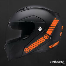 REFLECTIVE HELMET DECALS - 25 PIECE SAFETY KIT - ORANGE - BIKE, MOTORCYCLE