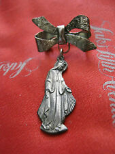 Sculptural Miraculous Mary Queen of Heaven 1830 Medal w/ Floral Ribbon Bow Pin,