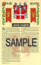 BECK Armorial Name History - Coat of Arms - Family Crest GIFT! 11x17