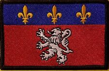 LYON FRANCE Flag Embroidered Iron-On Patch Military Emblem Black Border