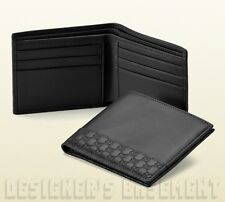 GUCCI Mens black Leather MICRO GUCCISSIMA Accent Bifold wallet NIB Authentc $350