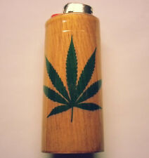 Marijuana Leaf Bic Lighter Case Weed Ganja Holder Sleeeve Cover