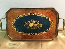 Vintage  Wood Italian Inlay Marquetry Floral Serving Tray Brass Handles