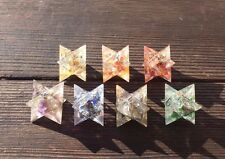 7 CHAKRA MERKABA SET COMPLETE ORGONE GEMSTONE MERKABA STAR SET ORGONITE 30-32mm