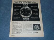 "1963 Accutron Astronaut Vintage Bulova Watch Ad ""Why Every Sports Car Driver..."""