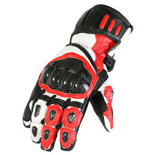 Any Size! Red White & Black Armoured Vented Knuckle Motorbike Racing Gloves