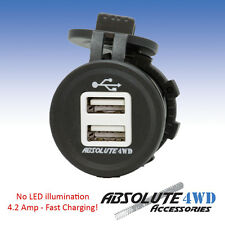 *USB Socket* 4.2 AMP Fast Charging No LED 5v 12v iPad iPhone Patrol 4x4 Caravan