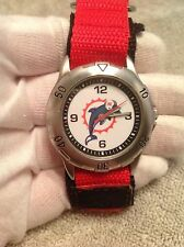 Official NFL Miami Dolphin's Men's Wrist Watch Red And Black Canvas Band