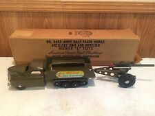 VINTAGE BUDDY L 3409 ARMY MOBILE ARTILLERY HOWITZER PRESSED STEEL TOY WITH BOX