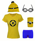Ladies Womens Girls Minion Despicable Me 2 Fancy Dress Outfit Tshirt Hat Glasses