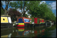 579018 Colorful Narrow Boats Along Regents Canal London England A4 Photo Print