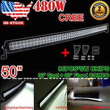 """50INCH 480W CREE CURVED LED LIGHT BAR SPOT FLOOD OFFROAD 4WD TRUCK ATV 52"""" 500W"""