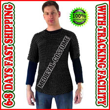 Chainmail Shirt S Size Short Length Rust Proof Black Butted Chain Mail Costume A