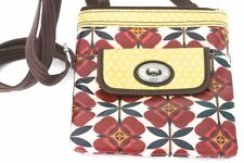Nice! Fossil Key Per Red-Floral Crossbody Bag Turn-lock Flap Front Pocket Purse