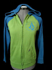 VOLCOM Hoodie Sweawtshirt Boys Youth L Blue Green full zip up Sporty Skater Surf