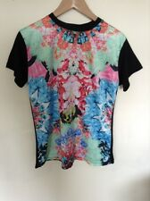 Atmosphere Top Black With Coloured Flower Front Tshirt Size 8  M203