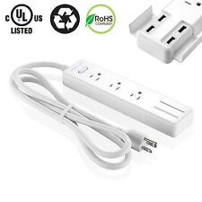 3-Outlet Power Strip Surge Protector with 4 USB Charging Port Socket 5 Feet Cord