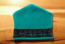 Columbia Vtg Teal WINTER STOCKING CAP BEANIE SLEDDING HAT Aztec Indian Print