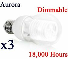 3 x Aurora Energy Saving 8W Dimmable Light Bulb GLS CCFL Lamp E27 ES Warm White