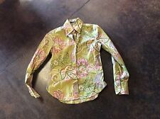 Etro greens and pink paisley cotton blouse 42 4-6