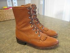 Womens JUSTIN Lace Up Brown Leather Roper COMB LAST Western Boots Size 7 B