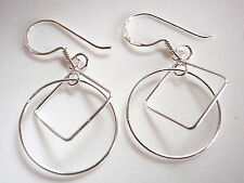Circle & Square Silver Dangle Earrings That Hang at Right Angles to Each Other